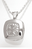Spanish Cross Cushion Sterling Silver Cremation Jewelry Pendant Necklace