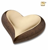 Speckled Auburn Gold Heart Keepsake Cremation Urn