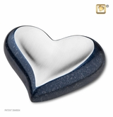 Speckled Indigo Pewter Heart Keepsake Cremation Urn
