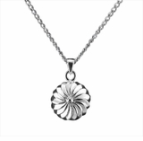 Spoked Wheel Sterling Silver Cremation Jewelry Necklace
