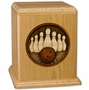 Sports Bowling with 3D Inlay Oak Wood Cremation Urn