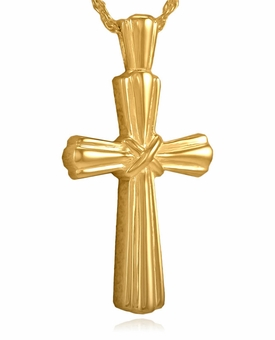Stalk Cross Gold Vermeil Cremation Jewelry Pendant Necklace