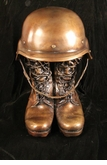 Stalwart Military Helmet and Boots Cast Bronze Cremation Urn