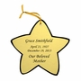 Star Double-Sided Memorial Ornament - Engraved - Gold