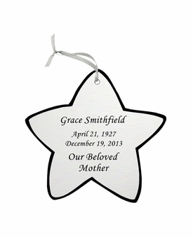 Star Double-Sided Memorial Ornament - Engraved - Silver