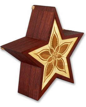 Star Hand Carved Wooden Cremation Urn