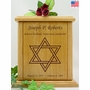 Star of David Engraved Wood Cremation Urn
