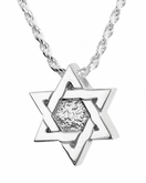 Star of David Sterling Silver Cremation Jewelry Pendant Necklace