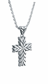 Starburst Cross Sterling Silver Cremation Jewelry Pendant Necklace