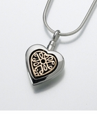 Sterling Heart with 14kt Insert Cremation Jewelry