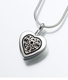 Sterling Heart with Sterling Insert Cremation Jewelry