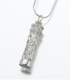Sterling Silver Filigree Glass Cylinder Cremation Jewelry