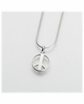 Sterling Silver Peace Sign Cremation Jewelry Pendant