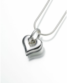 Sterling Silver Puff Heart Cremation Jewelry