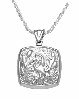 Stork Cushion Sterling Silver Cremation Jewelry Pendant Necklace