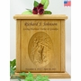 Stream Fisherman Relief Carved Engraved Wood Cremation Urn