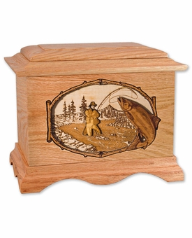 Stream Fishing with 3D Inlay Oak Wood Hampton Cremation Urn