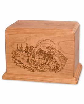 Stream Trout Fishing Cherry Wood Newport Laser Carved Cremation Urn