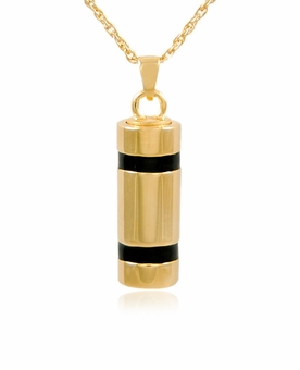 Striped Cylinder Gold Vermeil Cremation Jewelry Pendant Necklace