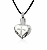 Studded Heart with Cross and White Background Stainless Steel Cremation Jewelry Pendant Necklace