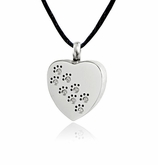 Studded Paw Prints Heart Stainless Steel Pet Cremation Jewelry Pendant Necklace