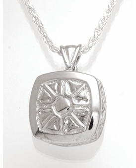 Sunburst Cushion Sterling Silver Cremation Jewelry Pendant Necklace