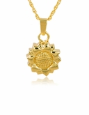 Sunflower Gold Vermeil Cremation Jewelry Pendant Necklace