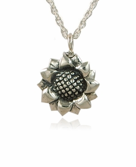 Sunflower Sterling Silver Cremation Jewelry Pendant Necklace
