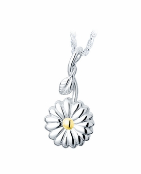 Sunflower Sterling Silver with Gold Cremation Jewelry Pendant Necklace