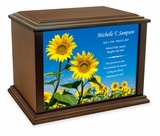 Sunflowers Eternal Reflections Wood Cremation Urn - 4 Sizes