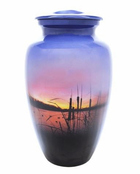 Sunrise On The Water Picture Cremation Urn