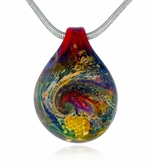 Sunset Cremains Encased in Glass Cremation Jewelry Pendant