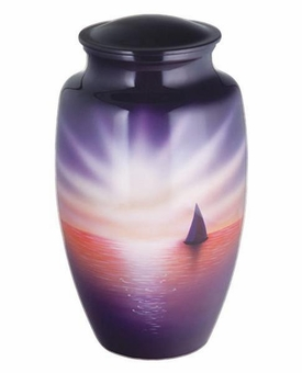Sunset Sail Hand Painted Cremation Urn