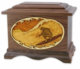 Surfer with 3D Inlay Walnut Wood Cremation Urn