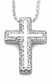 Swirl Border Cross Sterling Silver Cremation Jewelry Pendant Necklace