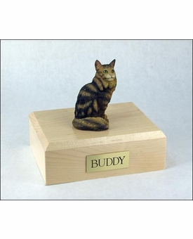 Tabby Maine Coon Cat Figurine Pet Cremation Urn - 593