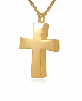 Tapered Cross Gold Vermeil Cremation Jewelry Pendant Necklace