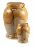 Teakwood Column Marble Cremation Urn