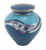 Teal Opulence Cloisonne Copper and Enamel Cremation Urn