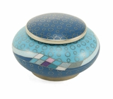 Teal Opulence Cloisonne Copper and Enamel Keepsake Cremation Urn