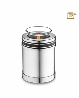 Tealight Candle Art Deco Silver Finish Keepsake Cremation Urn