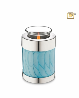 Tealight Candle Blue Pearlescent Keepsake Cremation Urn