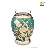 Tealight Candle Emerald Rose Keepsake Cremation Urn