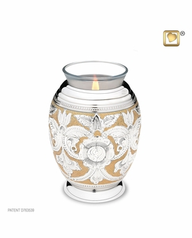 Tealight Candle Ornate Floral Keepsake Cremation Urn
