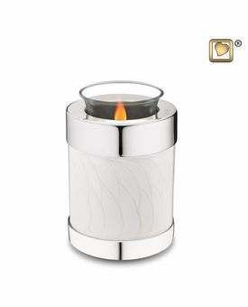 Tealight Candle Pearl Silver Keepsake Cremation Urn