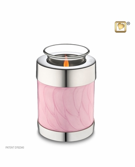 Tealight Candle Pink Pearlescent Keepsake Cremation Urn
