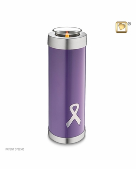 Tealight Candle Tall Awareness Purple Ribbon Keepsake Cremation Urn