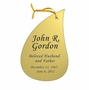 Tear Drop Double-Sided Memorial Ornament - Engraved - Gold