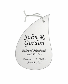 Tear Drop Double-Sided Memorial Ornament - Engraved - Silver