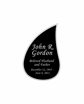 Tear Drop Nameplate - Engraved Black and Silver - 1-7/8  x  2-7/8